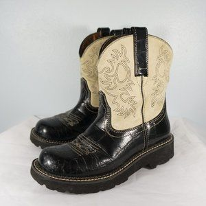 Ariat Fatbaby Black and Cream Cowgirl Boots 6.5B
